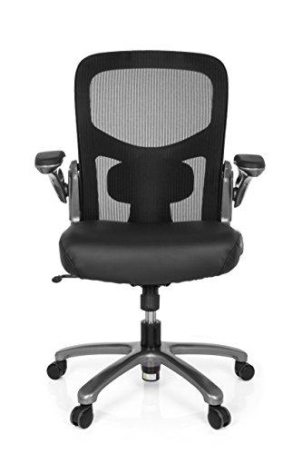 hjh OFFICE 736100 Büro-Schreibtisch-Stuhl bis 220 kg Instructor T XXL Netz Kunstleder, Titan Schwarz, klappbare Armlehnen