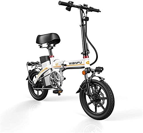 Bicicleta electrica Bicicletas eléctricas rápidas para adultos Ruedas de 14 pulgadas Marco de aleación de aluminio Bicicleta eléctrica plegable portátil con extraíble 48V batería de litio potente moto