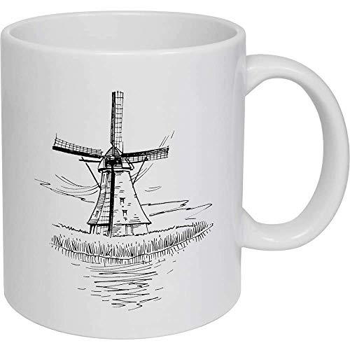 N\A Taza de café con Tema de Molino de Viento Tazas de Regalo de cerámica Tazas Divertidas Negras/Blancas para el hogar de la Barra de la Oficina