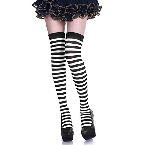 Shujin Damen Mädchen Kniestrümpfe Overknee Lange Strümpfe Streifen Oberschenkel Hohe Socken Sport Socken Leggings Baumwollstrümpfe Cosplay Halloween Kostüme