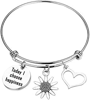 Sunflower Charm Bracelet Be Happy Bracelet Today I Choose Happiness Inspirational Gift (Today I Choose Happiness)