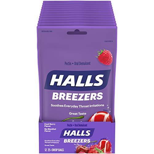 Halls Breezers Cool Berry Throat Drops - 300 Drops (12 bags of 25 drops)