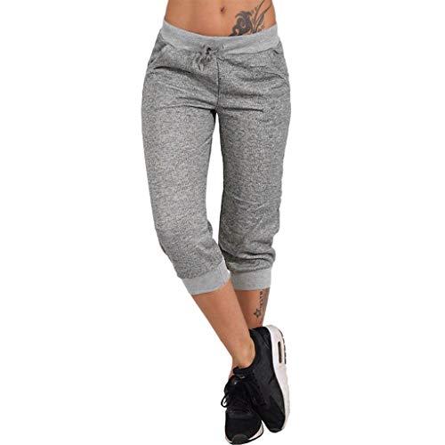 RISTHY 3/4 Pantalones Deporte Yoga Mujer Leggins Leotardos Capri Pantalón Pirata Deportiva Pantalones Algodón Ropa Deportiva Mujer con Cordón para Correr Running Yoga