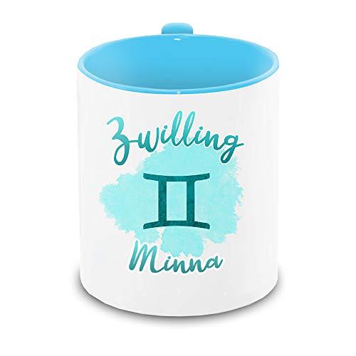 Tasse mit Namen Minna und Sternzeichen-Motiv Zwilling im Lettering-Stil | Keramik-Tasse hellblau | Astrologie-Geschenk