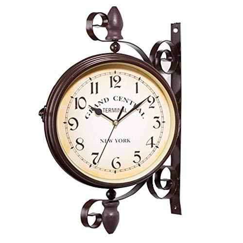 CSPone | Pendule Double Face, Horloge Vintage Retro, Horloge Murale silencieuse, Horloge de Gare pour L'intérieur et L'extérieur Maison Jardin Cuisine Cour Séjour