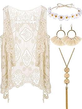 4 Pieces Women Hippie Bohemian Costume Set Open Stitch Cardigan Crochet Vest  White L/XL