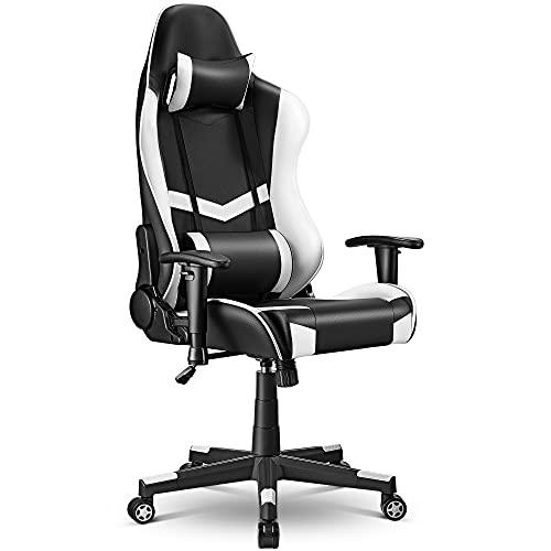 Gaming Stuhl Bürostuhl Gamer ergonomischer Schreibtischstuhl, Drehstuhl mit Kopfkissen und...