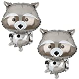 2 Pcs Raccoon Shaped Great Mylar Foil Critter Balloon Woodland Themed Party Birthday Baby Shower Decorations