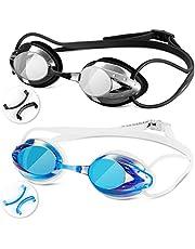スイミングゴーグル Swimmaxt 水泳ゴーグル [2点セット/3サイズ鼻ベルト] 水泳ゴーグル 曇り止め UVカット 水中メガネ メンズ レディース