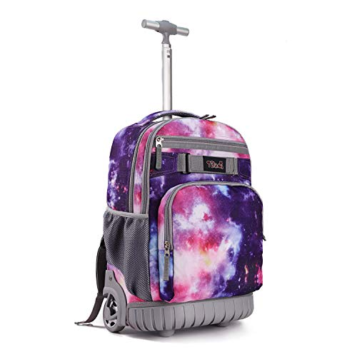 Tilami Rolling Backpack 18 inch Wheeled Laptop Backpack School College Student Travel Trip Boys and Girls, Galaxy Purple