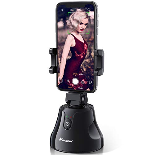 Smart Tracking Holder, Foxnovo 360°Rotation Auto Face/Object Tracking Holder Intelligent Follow Portable Smart Selfie Stick, Video/Vlog Shooting Robot Cameraman for iPhone/Android Phone (Black)