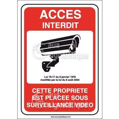 AUA SIGNALETIQUE - Panneau accès Interdit propriété placée sous Surveillance vidéo - 150x210 mm, PVC 1.5mm