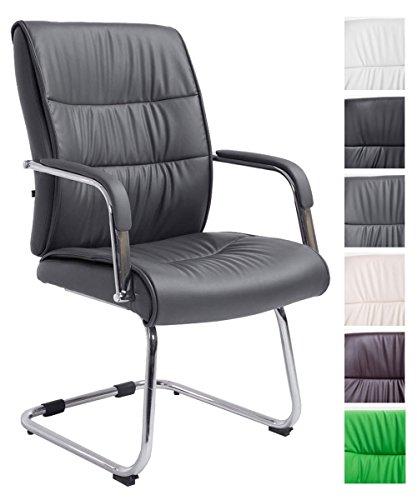 CLP Freischwingerstuhl Sievert Mit Polsterung Und Kunstlederbezug I Konferenzstuhl Mit Armlehne, Farbe:grau