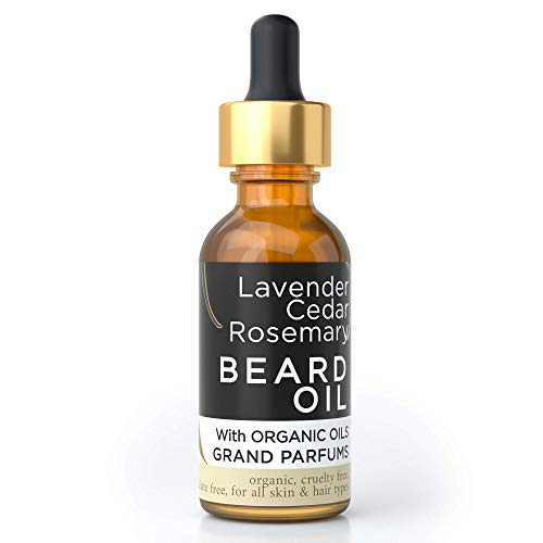 Grand Parfums MEN'S Beard Oil 100% Organic Natural Conditioning Oil Infused w/Lavender, Cedarwood & Rosemary Essential Oils, Argan, Almond, Jojoba & Castor Oils – Maintain & Groom Softer, Stronger