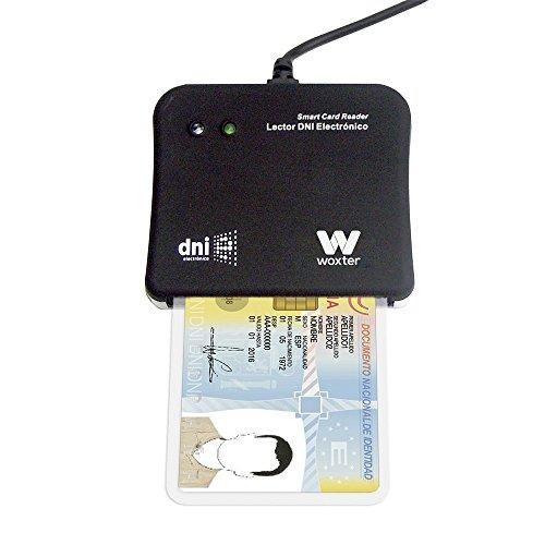 Woxter Lector DNI Electrónico Negro - Lector de DNI Electrónico Inteligente, DNI 3.0, Plug & Play, Compatible con PC y Mac