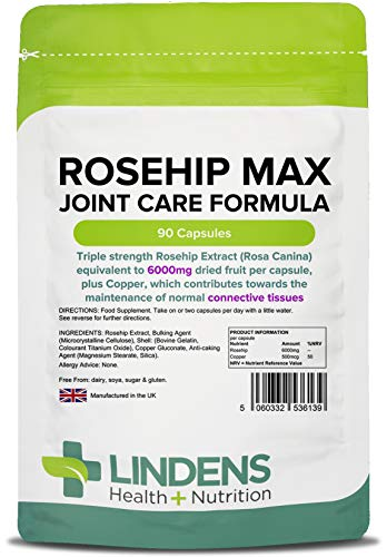 Lindens Rosehip Max Joint Care Formula 90 Capsules - UK Manufacturer, Letterbox Friendly