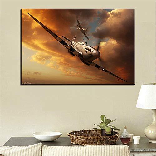MYSY Bilder Malerei Wandkunst Modulare Poster Spitfire Dämmerung Landschaft HD Gedruckt Moderne Leinwand Wohnzimmer Wohnkultur-60x90 cm x 1 stücke kein Rahmen