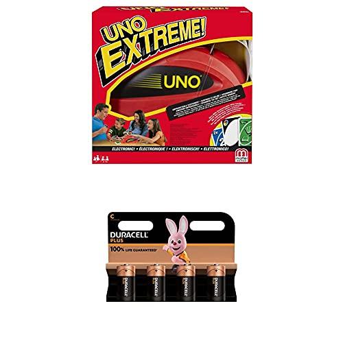 Mattel Games Uno Extreme, Juego de Cartas (Mattel V9364) , Color/Modelo Surtido + Duracell - Nuevo Pilas alcalinas Plus C , 1.5 Voltios LR14 MN1400, Paquete de 4