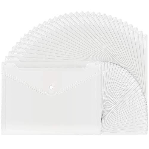 30pcs Plastic Envelopes, Clear Reusable Poly Envelope...
