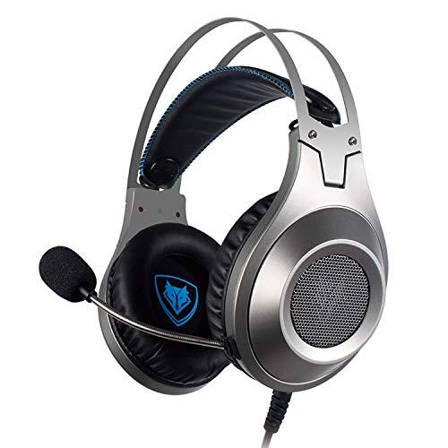 Jumor PS4 Headset Gaming Kopfhörer, 3.5Mm Surround Stereo Gaming Headsets, Für PC, Laptop, Schau Video, Online Spiele, Mit Flexibler Mikrofon Lautstärkeregelung,Silber