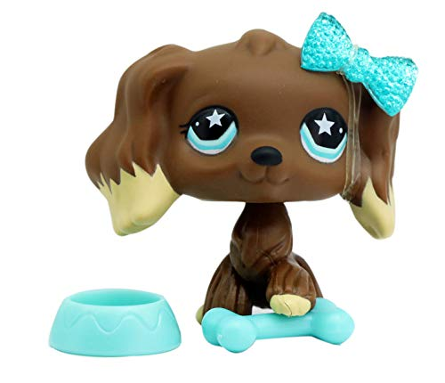 LPSTHREE LPS Cocker Spaniel 960 Chocolate Brown Dog Star Eyes Dog Puppy with Accessories Figure Cartoon Animal Figures Collection Figure Cute Toy Kids Boy Girls Gift