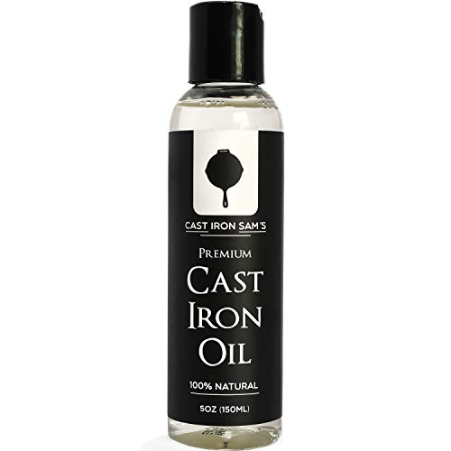 Cast Iron Sam's 100% Natural Cast Iron Seasoning Oil - Clean, Condition, Protect and Care for Your Cookware – Cast Iron Oil for All Iron Pans, Skillets, Griddles, Dutch Ovens, Woks.