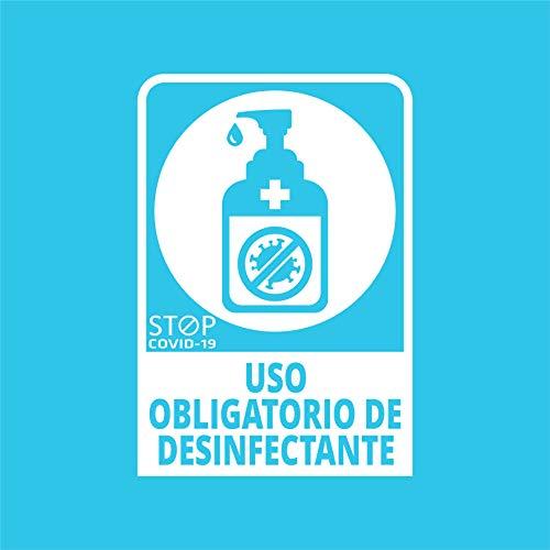 Pegatina COVID, Uso obligatorio de desinfectante, Prevención COVID-19, diseñado para empresas, como medida de protección contra el Coronavirus - Cartel prevención de 13 x 19cm (Blanco)