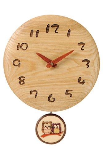木製ハンドメイド掛け時計 日本製 タモ丸型振り子時計(振り子ふくろう)F37-2A