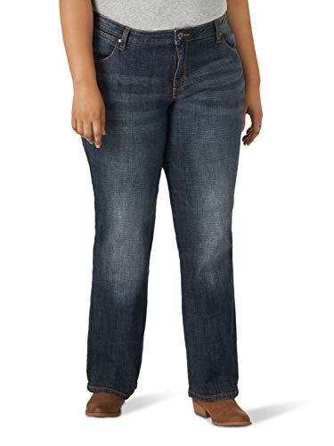 Wrangler Women's Plus Size Aura Instantly Slimming Mid-Rise Jean, Dark Blue, 24W AVG