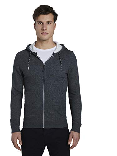 TOM TAILOR Herren Strick & Sweats Strukturierte Sweat sweatjacket with tippings 22188 M-XL 121 Sweatjacke, Navy Grindle Stripe, L
