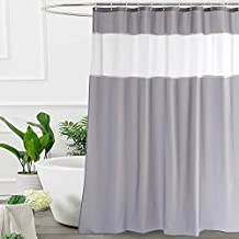 UFRIDAY Shower Curtain Grey and White 72 x 72 Inch, Fabric Shower Curtain with Window