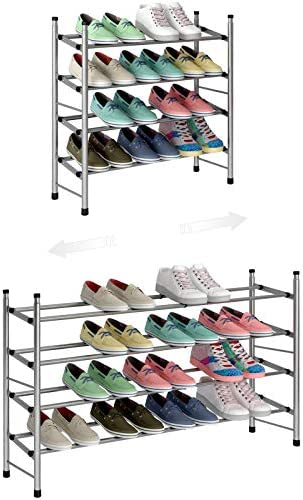 TZAMLI 4 Tier Free Standing Shoe Rack Metal Iron of Expandable and Adjustable Shoes Organizer product image