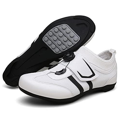 Zapatos De Ciclismo, Malla Transpirable Zapatillas De Bicicleta De Verano Zapatillas De Montaña Zapatos De Ciclismo Sin Bloqueo para Mujeres Hombres,Blanco,36