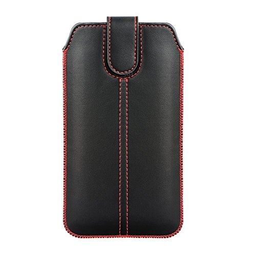 Handytasche Redstripe geeignet für Nokia 2 Dual Sim - Handy Tasche Schutz Hülle Slim Hülle Cover Etui schwarz mit Auszugband