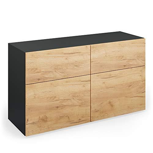 Vicco Sideboard Compo Highboard Anrichte Kommode Mehrzweckschrank (anthrazit/Eiche)
