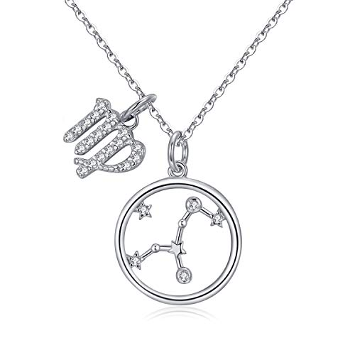 Qings Birth Sign Necklace- 925 Sterling Silver Constellation Virgo Astrological Necklace, Teenager Jewelry Horoscope Pendant Lightweight Baby Christening Shower Gift