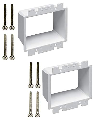 iMBAPrice BE2-2 (2-Gang) Electrical Power Outlet Box Extender - White, 2-Pack (Made in USA)