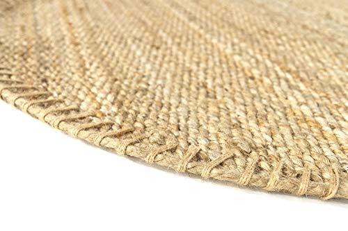 HAMID Jute Teppich - Granada Teppich 100% Natürliche Jutefaser - Weicher Teppich und Hohe Festigkeit - Handgewebt - Wohnzimmer, Esszimmer, Schlafzimmer, Flurteppich - Natürlich (150x150cm) - 3