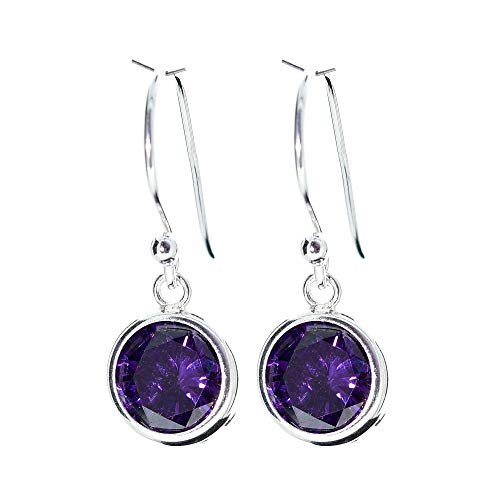 pewterhooter London Collection Sterling Silver Drop Earrings. Made with sparkling Amethyst crystal stones in a channel setting. Gift box.