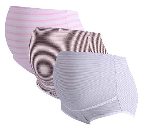 FEOYA 3 Stück Unterwäsche für Schwangere Höschen Frauen Mutterschaft Höschen für Schwangere verstellbare Mutterschaft Slips High Waist Support Bauch Schwangere Unterwäsche