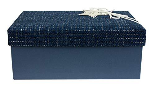 Emartbuy Lusso Rigido Scatola Regalo a Forma di Rettangola, 31 x 21 x 15 cm,Scatola Blu Con Coperchio Blu in Tessuto Testurizzato, Interni Color Cioccolato e Nastro Decorativo in Pelle Scamosciata