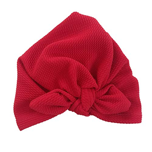 Oulian Sombreros de Turbante para Bebés Nudo de Turbante Gorro para Bebé para Bebés Suave Y Lindo Abrigo para El Bebé Ideal para Niños de 0 a 6 Meses - Vino Rojo