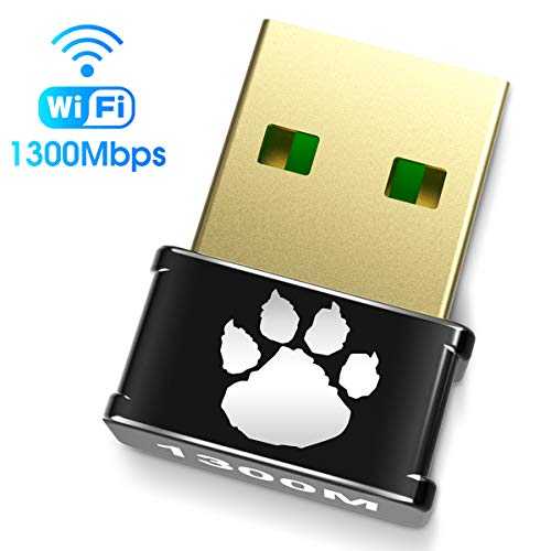 USB WiFi Adapter AC 1300Mbps for HD Video/Gaming, Dual Band 2.4G/ 5G, Wireless Network Adapter for PC Laptop Desktop, Nano Size WiFi Dongle Supports Win10/8/8.1/7/Vista/XP, Mac 10.6-10.15