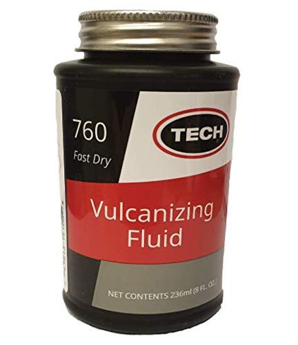 TECH Chem. Solución volcanizante/Cemento de Goma/Adhesivo para reparación de neumáticos de 235 ML con Pincel Tapa de Secado rápido