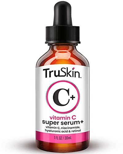 TruSkin Vitamin C-Plus Super Serum, Anti Aging Anti-Wrinkle Facial Serum with Niacinamide, Retinol, Hyaluronic Acid, and Salicylic Acid, 1 oz