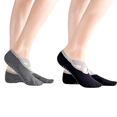 Chstarina 2 Paare Yoga Socken Rutschfeste für Damen Pilates Socken Antirutsch Sportsocken con...