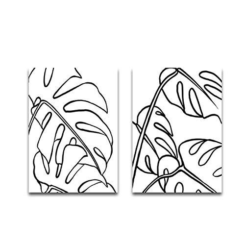 lienzos decorativosDibujo Lineal Monstera Poster Planta Lienzo Pintura Palm Wall Art Print Imagen Moderna para la Sala de Estar La decoración de la Pared - (40x50cm) x2pcs Sin Marco