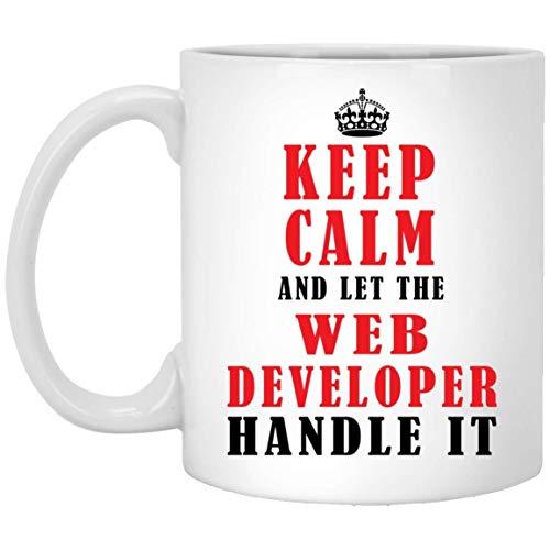 N\A Funny Keep Calm and Let The Web Developer Mango Taza de café con Leche de 11 oz