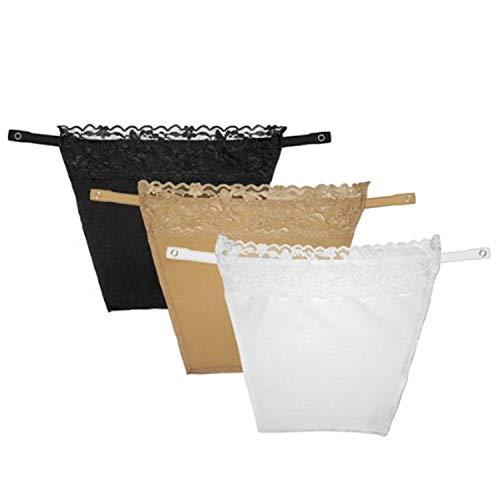 3 Piezas de acortar el Sistema Secreto de Cami En Mock Camisola Modestia Panel Parodia Blanco Negro Beige