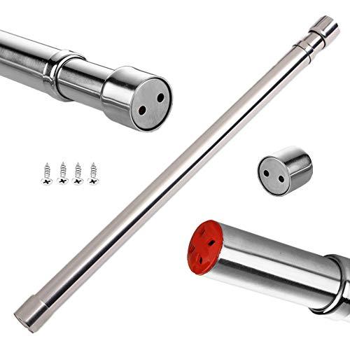 Sinzau - Barra extensible para armario, tubo de acero inoxidable con extremos